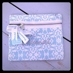 Mud Pie Bridesmaid Damask Inspired Linen Pouch ☁️